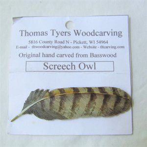 Handcarved Screech Owl Feather Pin Brooch